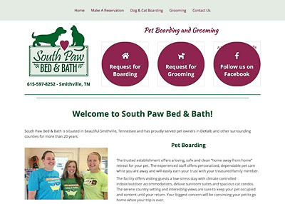 South Paw Bed & Bath website homepage