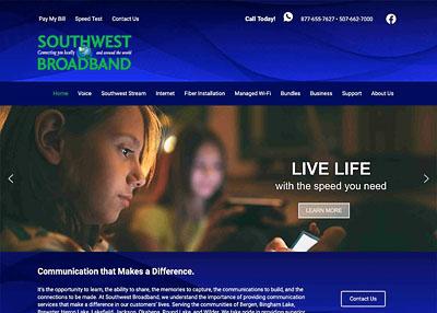Southwest Broadband website homepage