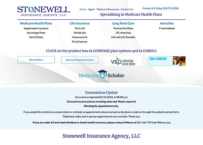 Stonewell Insurance Agency home page screenshot