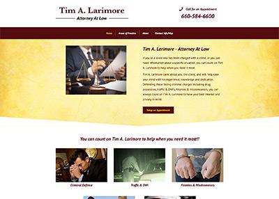 Tim Larimore Law website homepage