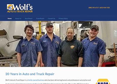 Wolf's Auto & Truck Repair home page screenshot